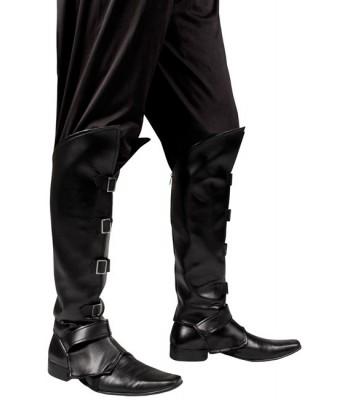 Sur-bottes noires boucles métal