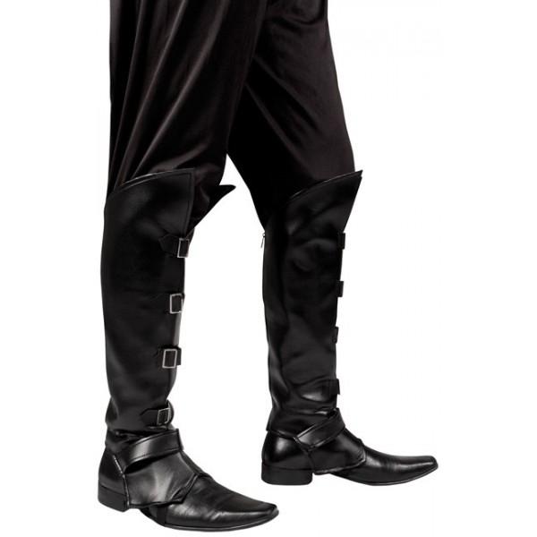 6746086b341 surbottes noires avec 4 boucles metal pour adultes - accessoire costume  pirates