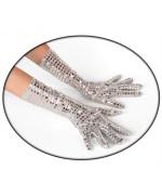 longue paire de gants argentés à paillettes - accessoire disco