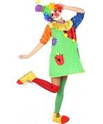 déguisement de clown pour femme multicolore avec chapeau