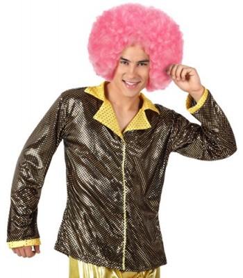 Chemise disco homme noir et or