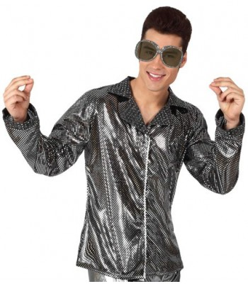 Chemise disco homme argent