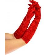 Longue paire de gants rouges plissés - accessoire deguisements charleston