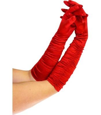 Gants rouges plissés 43 cm