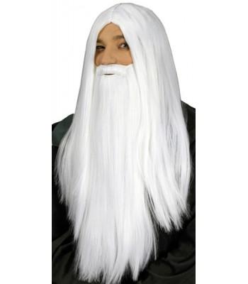 Perruque magicien sorcier avec barbe