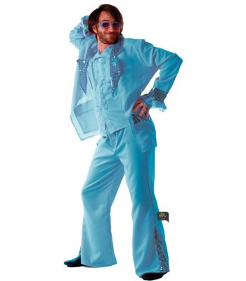 Déguisement disco fever bleu