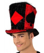 chapeau joueur de poker rouge et noir - accessoire deguisements adultes