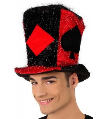 Chapeau poker rouge et noir