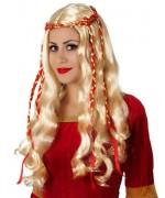 perruque medievale blonde - deguisement reine medievale rouge