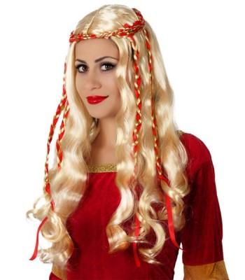 Perruque médiévale avec tresses rouges