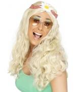 Perruque hippie blonde flower power - deguisements années 60