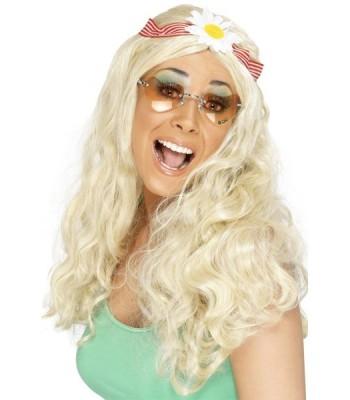 Perruque hippie blonde avec fleurs