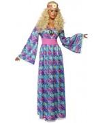 deguisement hippie avec fleurs, robe bleue et rose - années 60