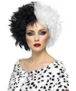 perruque cruella noire et blanche adulte - perruques halloween femme