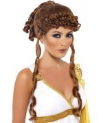perruque de déesse grecque châtain pour femme