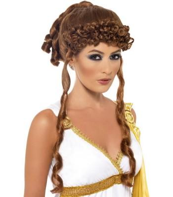 Perruque déesse grecque châtain