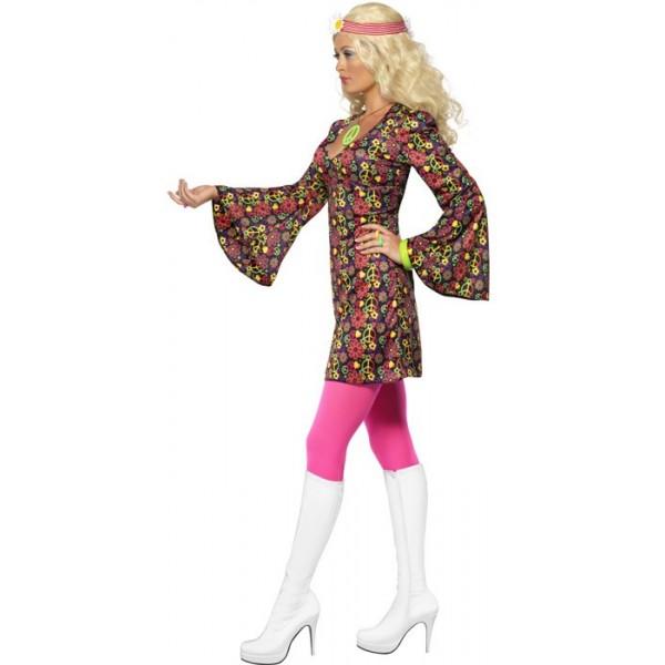 d guisement ann es 60 femme la magie du deguisement achat vente robe hippie. Black Bedroom Furniture Sets. Home Design Ideas