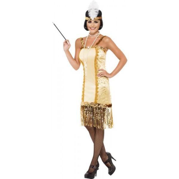 déguisement charleston beige et or adulte , costume années 20, années 30