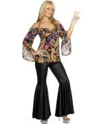 deguisement femme hippie avec maillot et pantalon - costume années 70