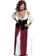 deguisement aubergiste tenanciere, robe medievale avec corset, tour de cou et coiffe - costume medieval