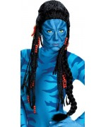 Perruque Neytiri Avatar avec dreadlocks, perles et plume - deguisement Avatar