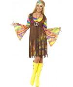 deguisement hippie femme psychédélique avec robe, gilet et bandeau