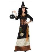 deguisement sorcière tzigane adulte avec robe et chapeau - magie et sorcellerie Halloween