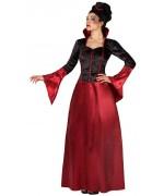 Déguisement vampire élégante femme, robe avec chapeau - costume halloween adulte