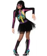 deguisement squelette fluo femme, robe à longues manches - costume halloween