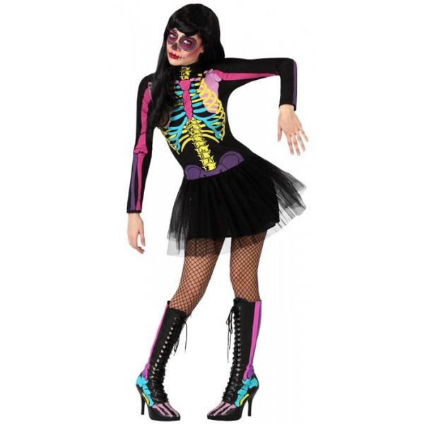 d guisement squelette fluo femme la magie du d guisement vente de costumes halloween adultes. Black Bedroom Furniture Sets. Home Design Ideas