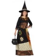 deguisement sorcière magique pour fille de 3 à 12 ans avec robe et chapeau - magie et sorcellerie et halloween