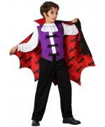 deguisement vampire garçon halloween avec motifs chauve-souris - costume enfant