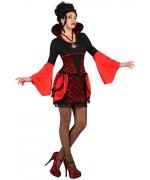 deguisement vampire gothique femme halloween, robe rouge et noir - taille S au XL