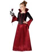 deguisement vampire élégante fille halloween, robe noire et rouge 3 à 12 ans - WE064S
