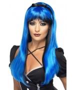 longue perruque bleue et noire pour femme - déguisements sorcières et mangas