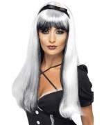 longue perruque blanche et noire avec bandeau - perruques sorcières