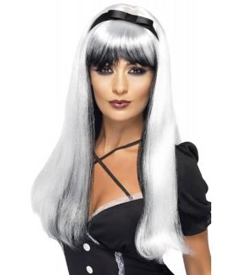 Perruque blanche et noire avec bandeau