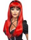 longue perruque rouge et noire avec bandeau pour femme - perruque diablesse et sorcière