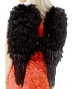 Ailes noires à plumes 50 x 60 cm pour adultes - deguisement ange halloween