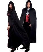 Cape noire avec capuche idéale pour vos costumes de vampire ou de sorcier
