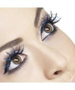 Faux cils bleus toile araignée brillants avec paillettes - maquillage deguisement femme
