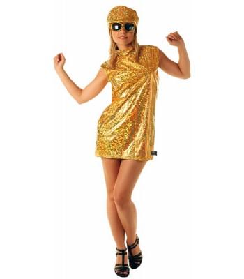 Déguisement robe disco 70's or avec casquette