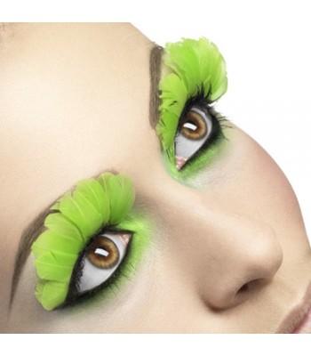 Faux cils avec plumes vert néon