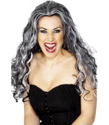 Perruque vampire noire et grise femme