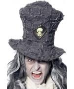 Haut de forme gris avec tête de mort - chapeau fossoyeur halloween